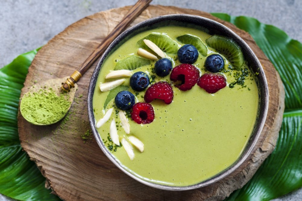 Vegan Green Macha And Mint Smoothie Bowl