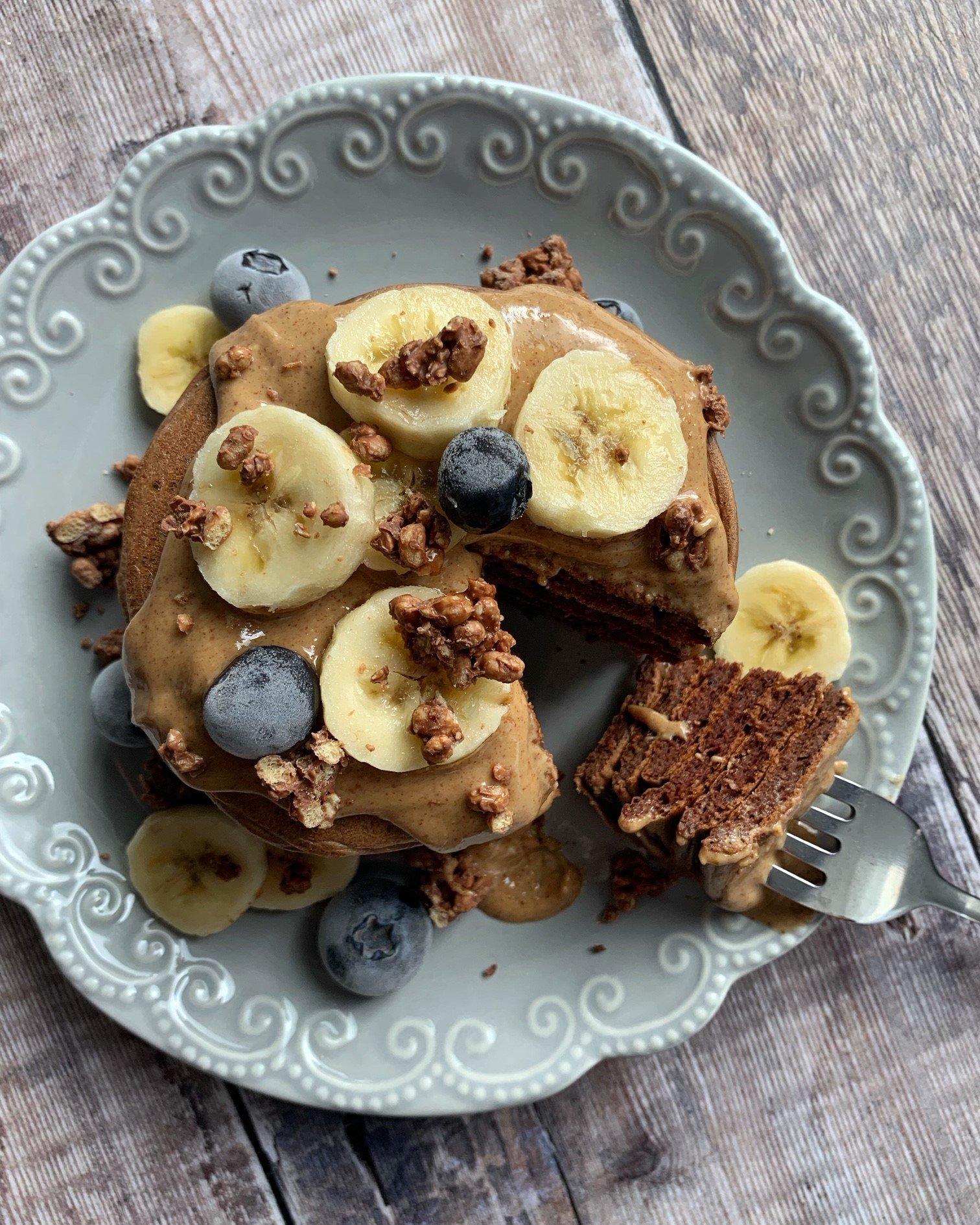 Choc Peanut Protein Pancakes Recipe