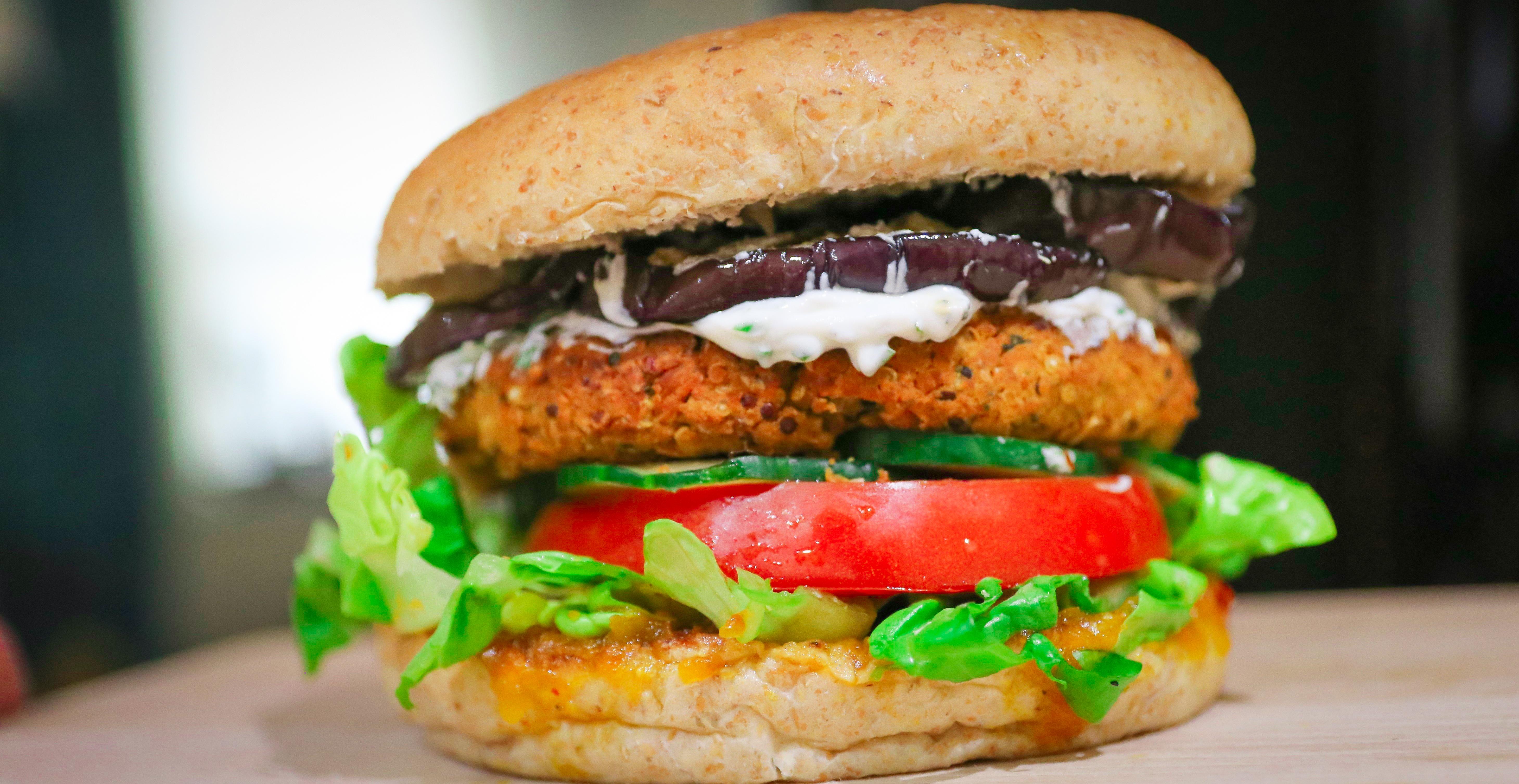 High-Protein Vegan Falafel Burgers