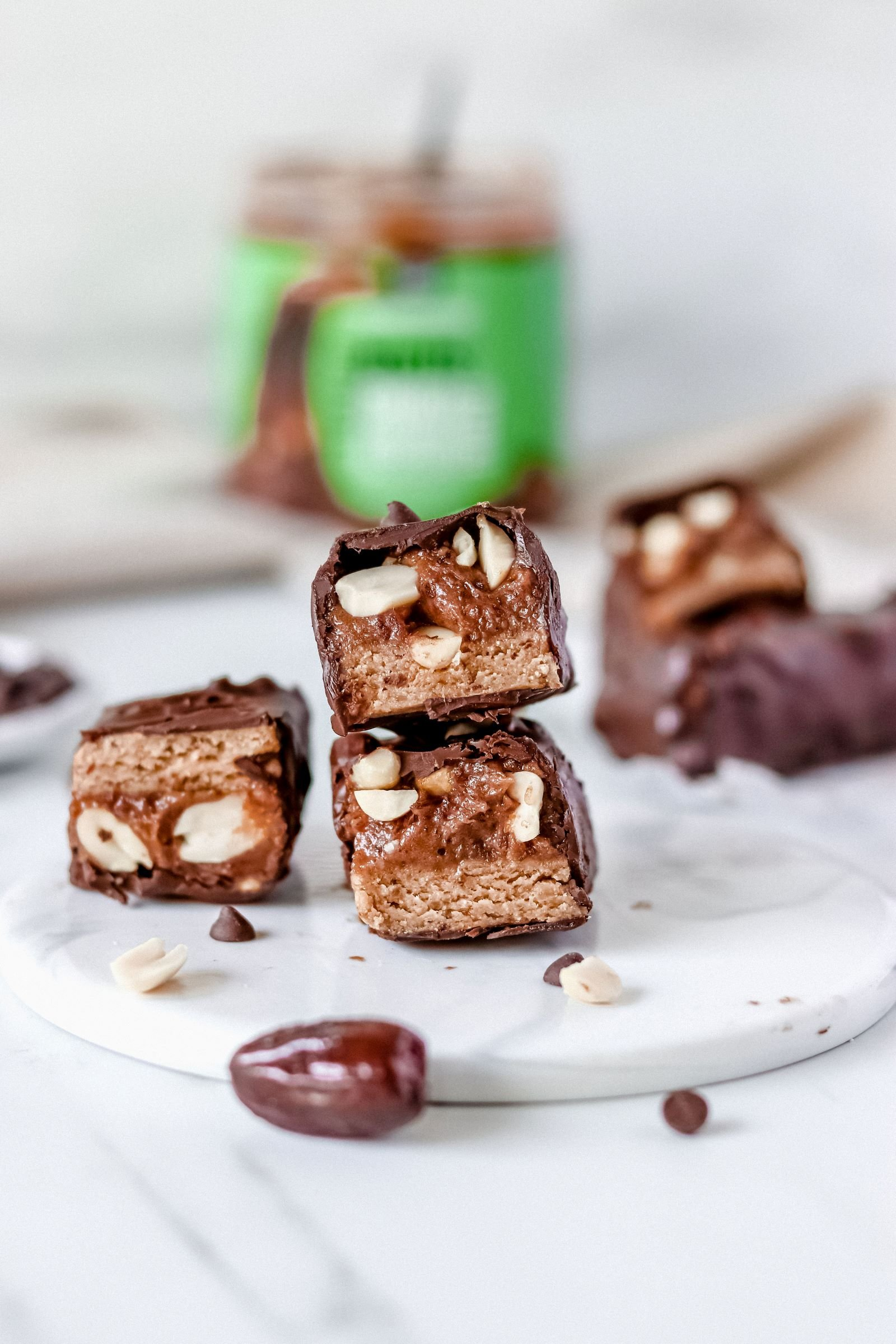 Vegan Snickers Bars loaded with Caramel Biscuits Peanut Butter